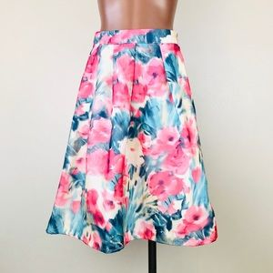 Everly Watercolor Floral High Waist Midi Skirt